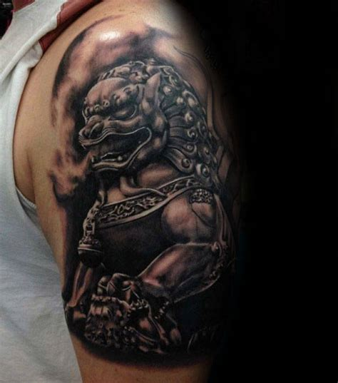 foo dog tattoo designs  men chinese gaurdian lions