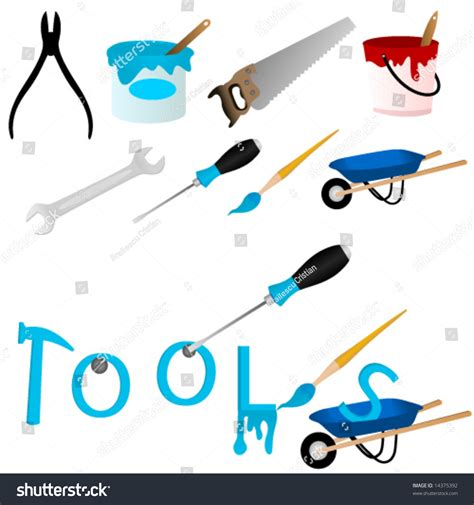 word tools set repair tools word tools animated stock vector 14375392