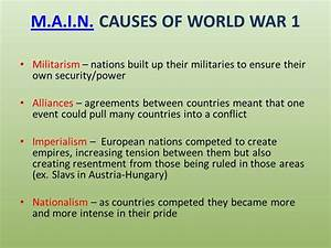 Great Sample Resume The Acronym Above Lists The Main Causes Of Ww1 Which Were