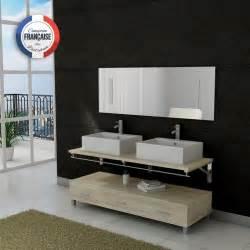 Meuble Salle De Bain Asymétrique : meuble salle de bain double vasque dis985 teinte bois clair distribain ~ Nature-et-papiers.com Idées de Décoration