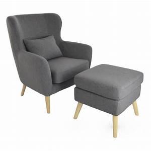Repose Pied Design : fauteuil design avec repose pied vilhelm en tissus gris fonc avec repose pieds inclus achat ~ Teatrodelosmanantiales.com Idées de Décoration