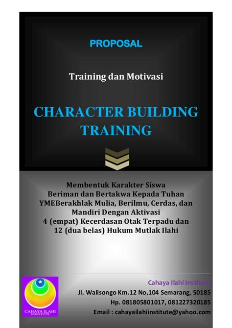 proposal character building training