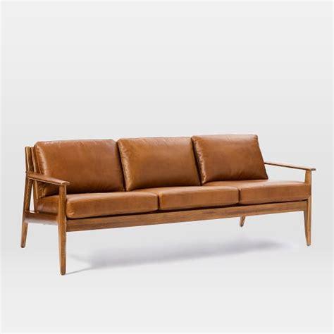 mid century leather sofa mathias mid century wood frame leather sofa 82 5 quot west elm
