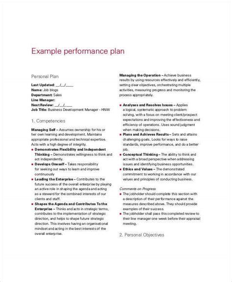 performance plan templates  word format