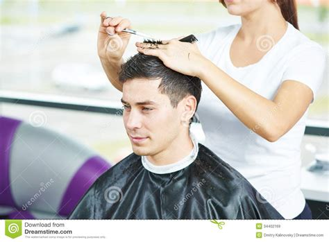 Mens Hair Dresser by Male Hairdresser At Work Royalty Free Stock Images Image