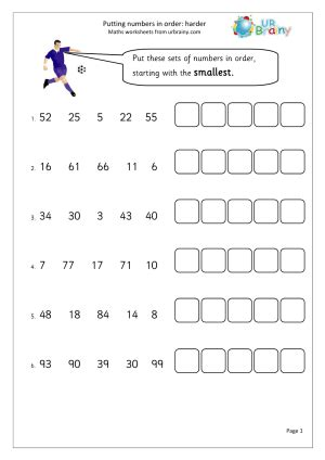 putting numbers in order harder year 2 maths