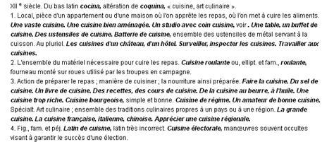cuisiniste d inition cuisine la définition du terme quot cuisine quot