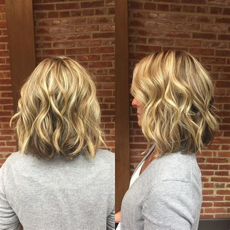 blonde wavy long bob  short layers medium length