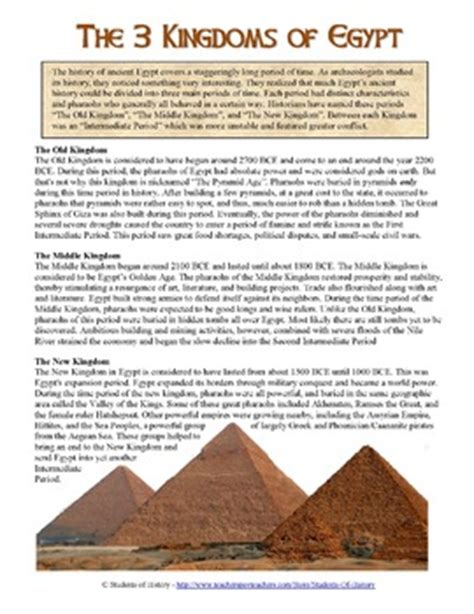 ancient egypt s kingdoms reading worksheet by students of history teachers pay teachers