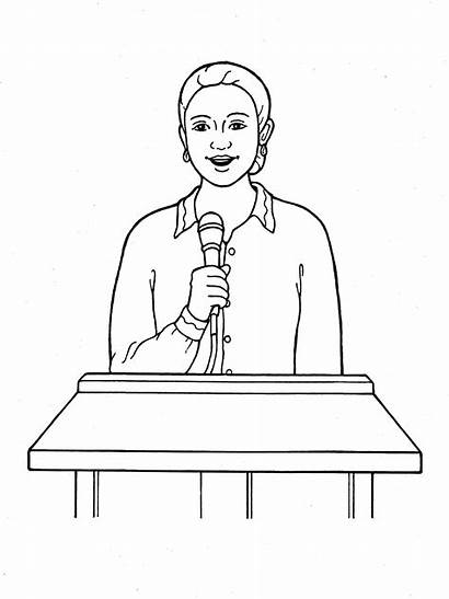 Speaking Drawing President Primary Woman Coloring Children