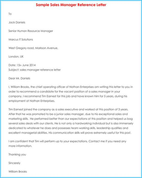 manager reference letter  samples  write manager job