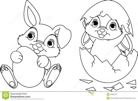 Easter Bunny Coloring Page Stock Vector. Illustration Of