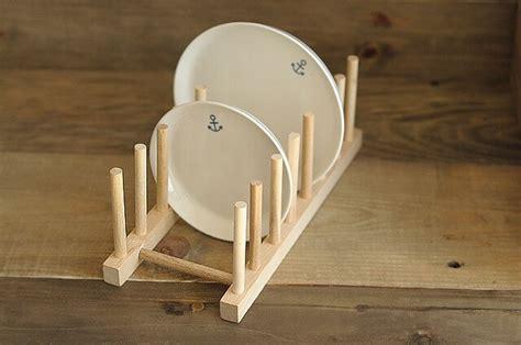 zakka solid color wood plate dishes shelve tableware display rack kitchen decoration  storage