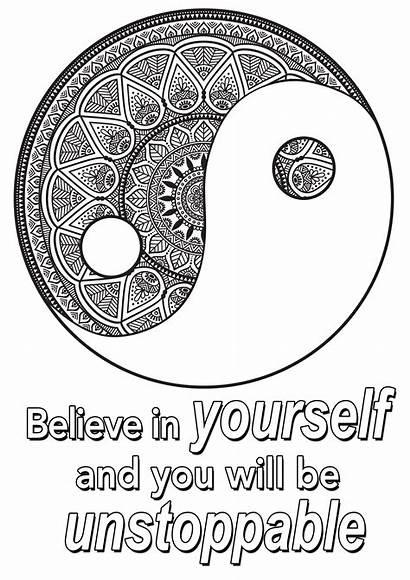 Coloring Pages Quote Yourself Adults Believe Quotes