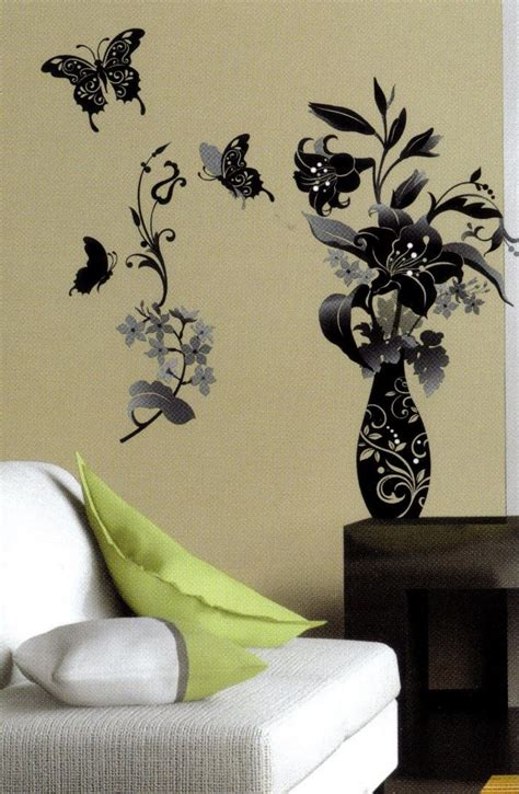 Monochrome Flower And Butterfly Black & White Wall Sticker