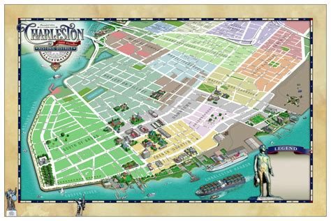 charleston historic district illustrated map map gallery