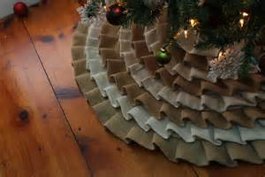 white and tan burlap ruffled christmas tree skirt by spcrafty
