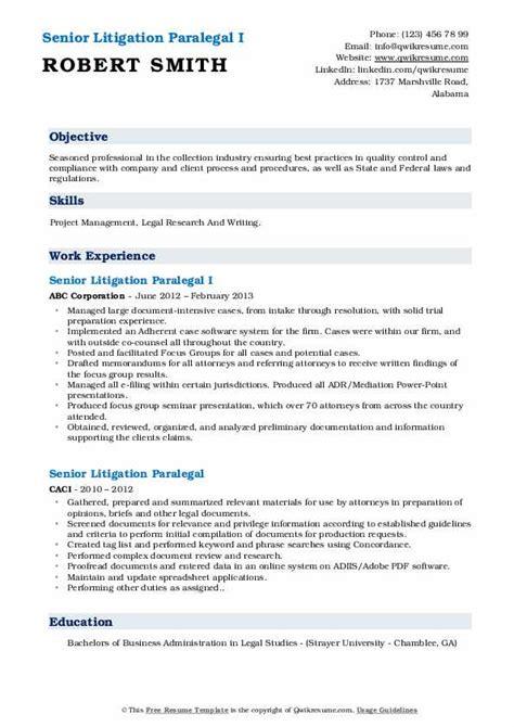 senior litigation paralegal resume samples qwikresume