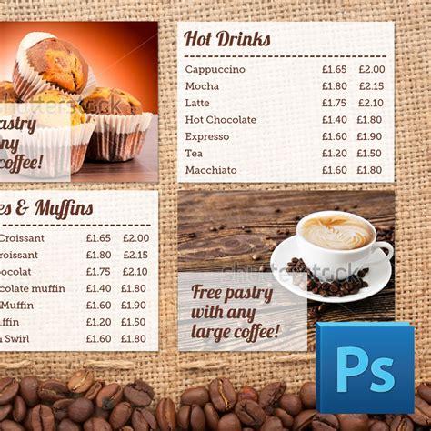 Fotojet makes cafe menu design easier than you think. Coffee Shop Menu Board PSD Template   Eclipse Digital Media