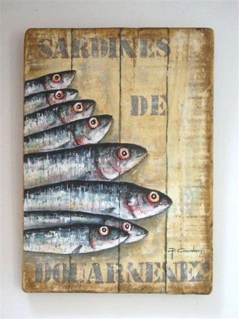 peinture sur planche de bois sardines de douarnenez peinture 40x70 cm par philippe coeurdevey petites planches de bois