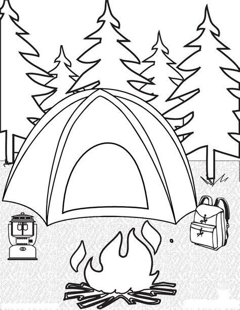 camping coloring pages  childrens printable