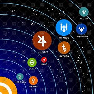 Symbols of of solar system planets Royalty Free Vector ...
