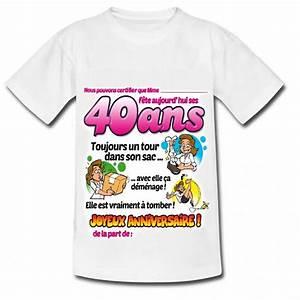 Idée Cadeau 40 Ans Femme : t shirt 40 ans femme avec stylo cadeau humour f ezia ~ Teatrodelosmanantiales.com Idées de Décoration