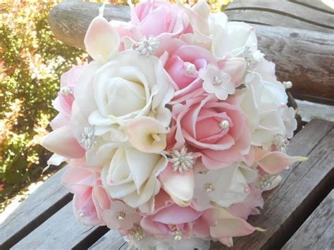 Blush Pink Bridal Bouquet / White Real Touch Rose / Calla