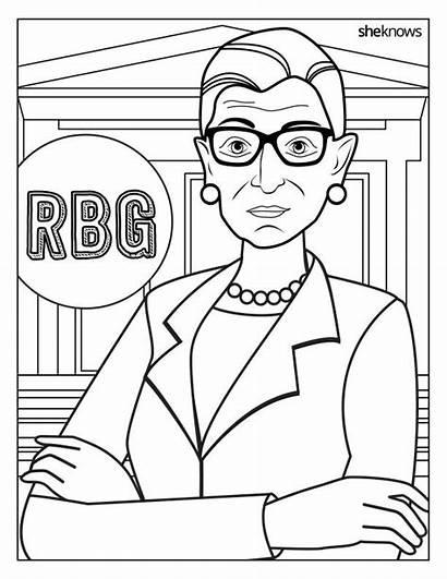 Ruth Ginsburg Bader Coloring Rbg Pages Amelia
