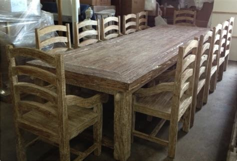 teak driftwood style dining table with 12 chairs large