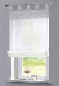 Raffrollo Weiß Transparent : raffrollo transparent uni aus voile mit schlaufen 610070 ~ Lateststills.com Haus und Dekorationen