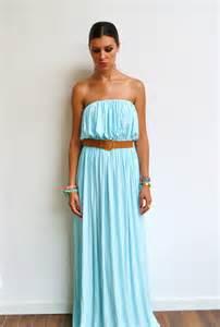 robe de mariã boheme maxi dress bleue jersey et maxi robe longue bleu pastel bustier bohème et look hippie chic