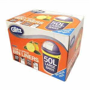 glitz 50l large citrus scented tie top kitchen bin liners With best brand of paint for kitchen cabinets with stickers for retail bags
