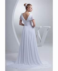 Color Chart V Neck Long White Chiffon Elegant Wedding Dress With