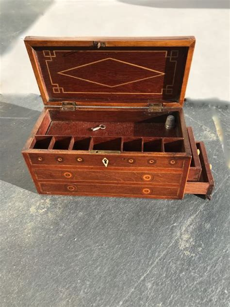 A Georgian Sewing Box - Locking Drawers, Pin Cushion ...