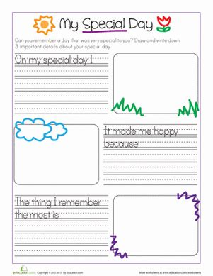 my special day kindergarten writing diary