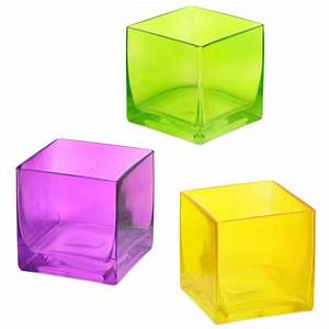 "Glass Cube Vase: 4"" Yellow [] - MardiGrasOutlet com"