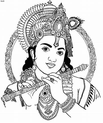 Krishna Coloring Janmashtami Pages Drawing Lord God