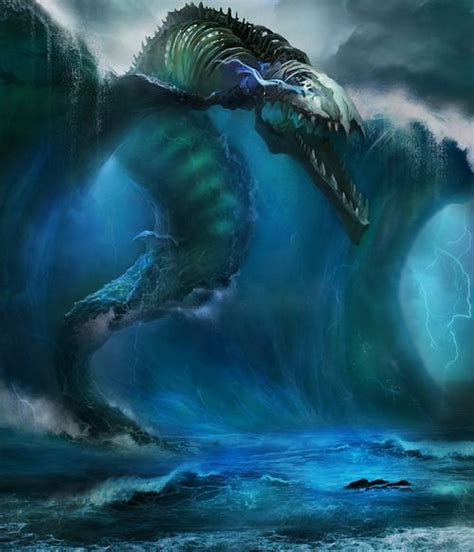 leviathan   waves mythical creatures fantasy