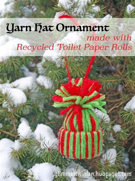 yarn hat ornament made with recycled toilet paper rolls