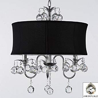 Black Drum Shade Chandelier With Crystals by Modern Black Drum Shade Ceiling Chandelier