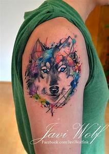 Watercolor wolf Tattooed by Javi Wolf | Tatuaje de ...