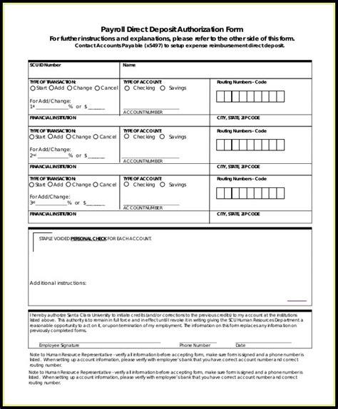 ach direct deposit authorization form template templates