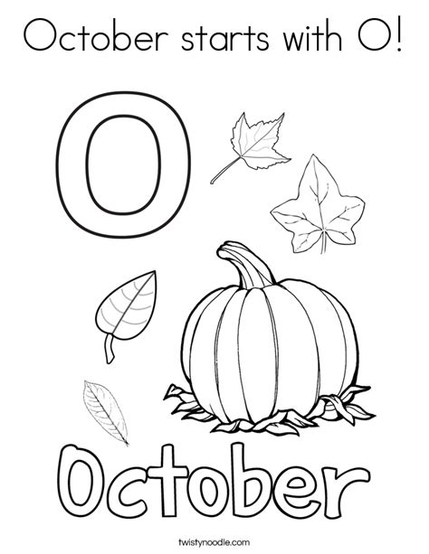 October starts with O Coloring Page - Twisty Noodle