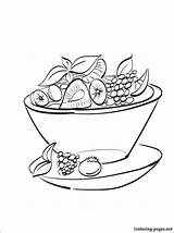 Salad Fruit Coloring Drawing Pages Drawings Printable Line sketch template