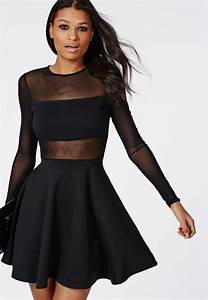 mesh insert long sleeve skater dress black dresses With robe noire manche 3 4