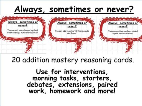 addition mastery maths reasoning cards