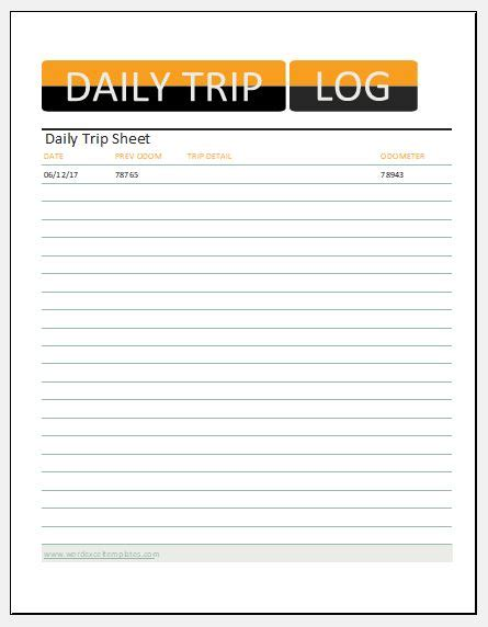 daily trip sheet templates  ms excel excel templates