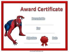 Spider-Man Award Certificate