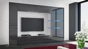 Wohnwand Hochglanz Grau : kaufexpert wohnwand shadow grau hochglanz wei 285 cm mediawand anbauwand medienwand design ~ Frokenaadalensverden.com Haus und Dekorationen